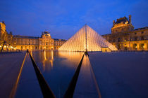 Europe, France, Paris. The Louvre museum at twilight. Credit as von Danita Delimont