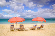 TURKS & CAICOS, Providenciales Island, Grace Bay Beach chairs on Grace Bay by Danita Delimont