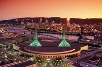 The Portland Convention center at sunset, in Portland, Oregon. by Danita Delimont
