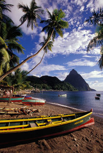 Caribbean, BWI, St. Lucia, Fishing boats and Pitons, Soufriere. by Danita Delimont