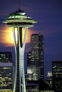 USA, WA, Seattle, Space Needle. Full moon by Danita Delimont