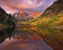 Maroon Bells reflected on Maroon Lake at sunrise, National Forest, Colorado by Danita Delimont