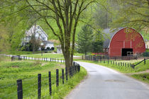 Red barn and farm house near Berlin, Ohio by Danita Delimont