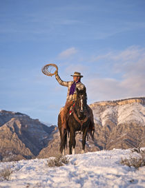 Cowboy riding a horse on the range on The Hideout Ranch in Shell Wyoming.   by Danita Delimont