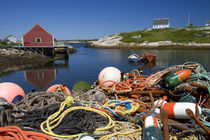 Lobster pots, buoys, and ropes on the dock at Peggy's Cove by Danita Delimont