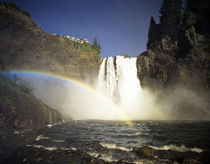 WA, Snoqualmie Falls. Spring runoff roars over 268 ft high falls. by Danita Delimont