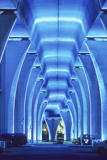 Bridge, underneath lighting, Port of Miami, Florida. by Danita Delimont