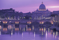 Europe, Italy, Rome, St. Peter's and Ponte Sant Angelo, evening; The Vatican by Danita Delimont