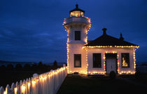 WA, Mukilteo, Mukilteo Lighthouse, established 1906, with holiday lights by Danita Delimont