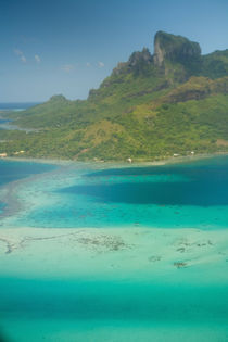 Aerial view on Air Tahiti flight from Huahini to Bora Bora, Society Islands by Danita Delimont