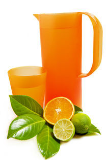 Pitcher and glass with orange and lime by Carla Zagni