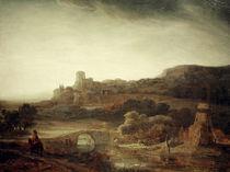 Rembrandt, Flusslandschaft mit Windmuehle von AKG  Images