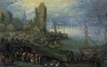Jan Bruegel d.Ae./Fischmarkt Meeresstrand von AKG  Images