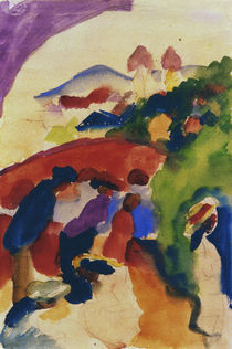 A.Macke, Spaziergaenger mit Stadt by AKG  Images