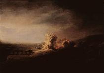 Rembrandt/ Landschaft mit Bogenbruecke von AKG  Images
