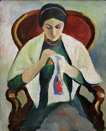 A.Macke, Stickende Frau am Sessel von AKG  Images