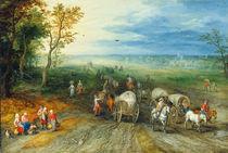 J.Brueghel d.Ae., Landschaft mit Reisend. von AKG  Images