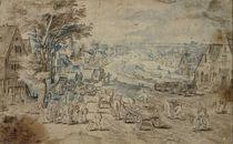 J.Brueghel d.Ae. Umkreis/ Dorf mit Kanal von AKG  Images