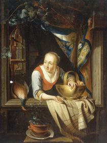 G.Dou, Junge Frau mit Apfelkorb von AKG  Images