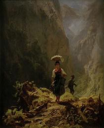 C.Spitzweg, Dirndl und Jaeger im Gebirge by AKG  Images