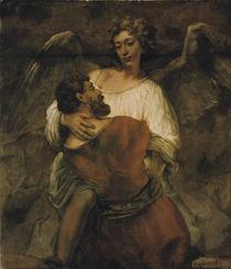 Rembrandt, Jakobs Kampf mit dem Engel by AKG  Images