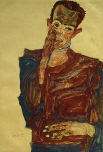 Egon Schiele, Selbstbildnis mit Hand... by AKG  Images