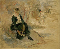 B.Morisot, Frau zieht Schlittschuhe an von AKG  Images