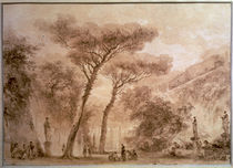 J.H.Fragonard, Jardin aux pins parasols by AKG  Images