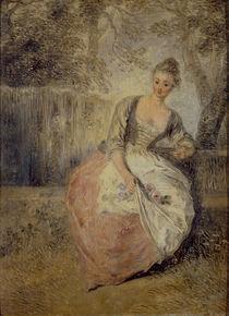Watteau,Antoine/L'Amante inquiete/um1716 von AKG  Images