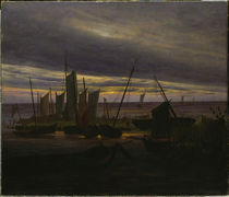 C.D.Friedrich, Schiffe im Hafen am Abend von AKG  Images