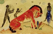 Franz Marc, Rotes Pferd m.schw.Figuren by AKG  Images
