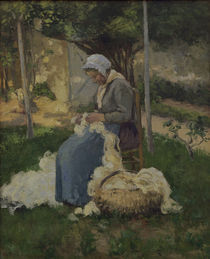 C.Pissarro, Baeuerin beim Wollezupfen by AKG  Images