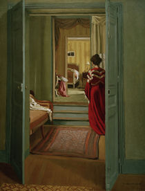 F.Vallotton, Interieur mit Frau in Rot by AKG  Images