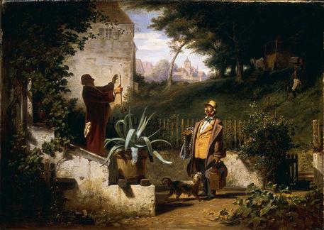 c spitzweg die jugendfreunde um 1855 bild als poster und kunstdruck von akg images bestellen. Black Bedroom Furniture Sets. Home Design Ideas
