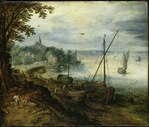 Jan Bruegel d.Ae., Flusslandschaft... von AKG  Images