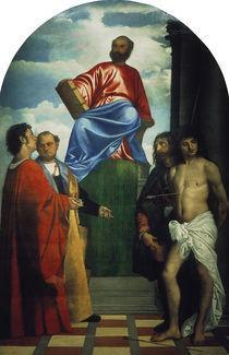 Tizian, Markus auf Thron und Heilige by AKG  Images