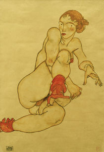 Egon Schiele, Akt mit hochgezogenem Bein by AKG  Images