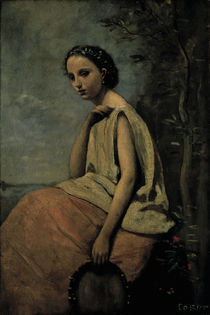 C.Corot, Zigeunerin mit Tambourin by AKG  Images