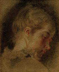 A.Watteau, Kopf einer jungen Frau von AKG  Images