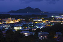 Cityscape lit up at dusk viewed from Beau Vallon Road by Panoramic Images