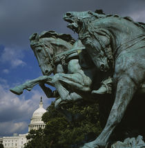 Low angle view of the statues of horses, Capitol Building, Washington DC, USA by Panoramic Images
