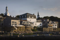 Buildings on a hill, Old Harbor, Rockport, Cape Ann, Massachusetts, USA by Panoramic Images