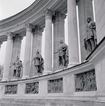 Low angle view of statues, Hero's square, Budapest, Hungary by Panoramic Images