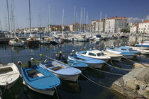 Boats moored at the marina, Piran, Primorska, Slovenia by Panoramic Images