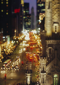 High angle view of traffic moving on the road, Chicago, Illinois, USA by Panoramic Images