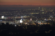 City lit up at dusk, Hollywood, Los Angeles, California, USA by Panoramic Images