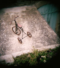High angle view of antique tricycle, Provence, France von Panoramic Images