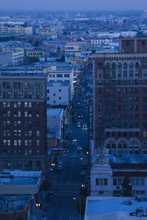 Cityscape at dusk, Los Angeles, California, USA by Panoramic Images