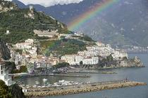 Rainbow over a town, Almafi, Amalfi Coast, Campania, Italy by Panoramic Images