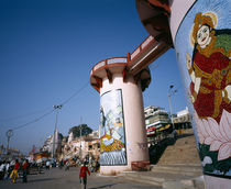 Street scene, Painted gateway, Varanasi, Uttar Pradesh, India by Panoramic Images